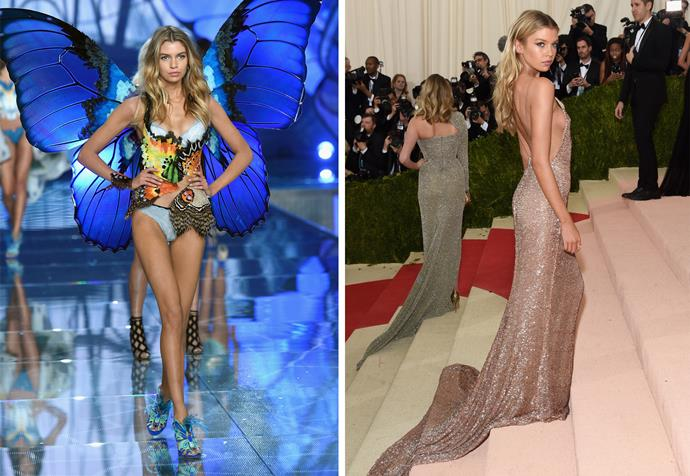 Stella walking for Victoria's Secret last year (left) and at the 2016 Met Gala in New York (right). Photos: Getty
