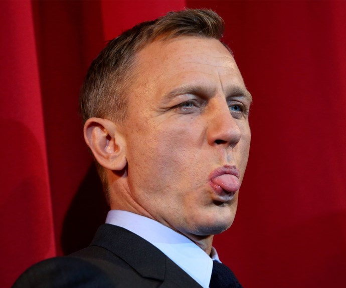 Daniel Craig puts the Bond persona aside for a cheeky moment on the red carpet.