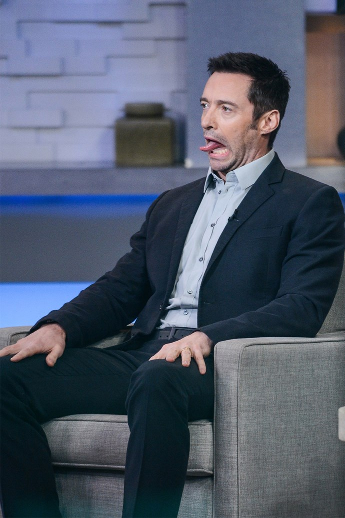 Crikey! Hugh Jackman sticks out his tongue in a very un-Wolverine-like fashion.