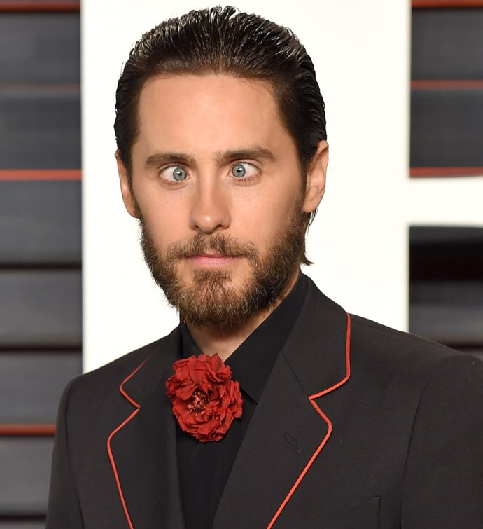 Jared Leto goes cross-eyed at the Oscars.