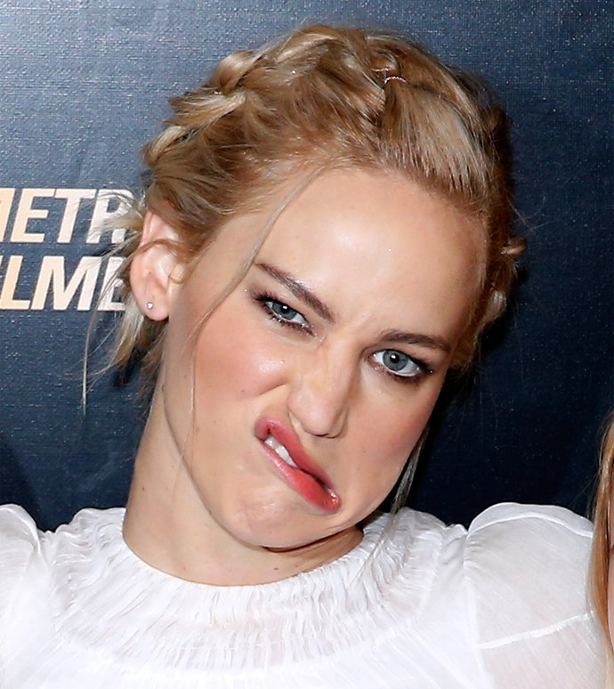 Jennifer Lawrence pulls a funny face on the red carpet.