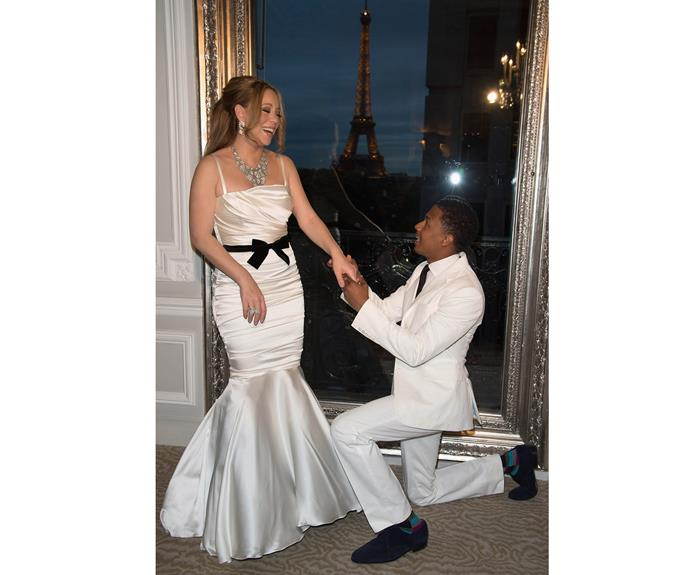 Mariah Carey and her (now-ex) husband Nick Cannon are pictured during their wedding vows renewal ceremony in 2012.