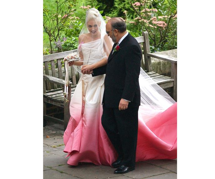 Gwen Stefani with her father Dennis Stefani during her wedding to Gavin Rossdale on September 14, 2002 at St Paul's Cathedral in Covent Garden in London, England. The couple, who have three children together, has since divorced and Gwen is now dating country singer Blake Shelton.