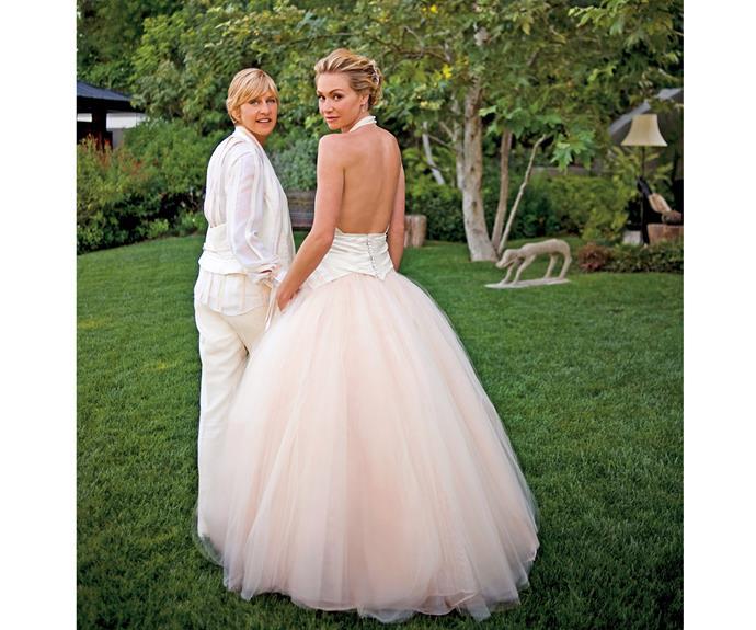 Ellen DeGeneres and her wife, actress Portia de Rossi, on their 2008 wedding day.