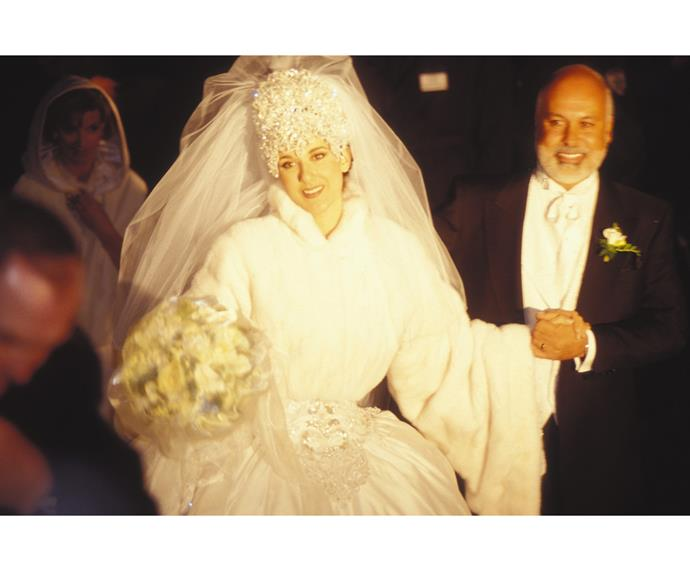 Celine Dion's wedding In Montreal, Canada On December 15, 1994. Celine's beloved husband Rene Angelil, pictured here, died in January this year.  Watch the pair at their wedding in the video below.