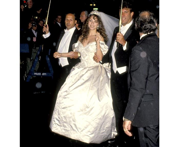 Mariah Carey at her first wedding to Tommy Mottola in 1993.
