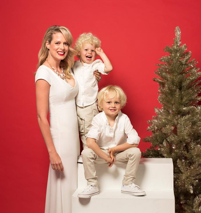 Flynn and Jett appearing with their mum in *Woman's Day's* December issue.