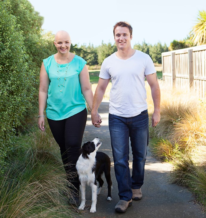 Amber, with boyfriend Kieran and dog Ava, has used her experiences to reach thousands of women.