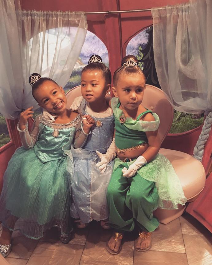 North and her friends get princess makeovers at Disneyland in this adorable shot.