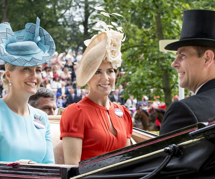 Princess Mary of Denmark is pictured taking part in the carriage procession at the Royal Ascot.