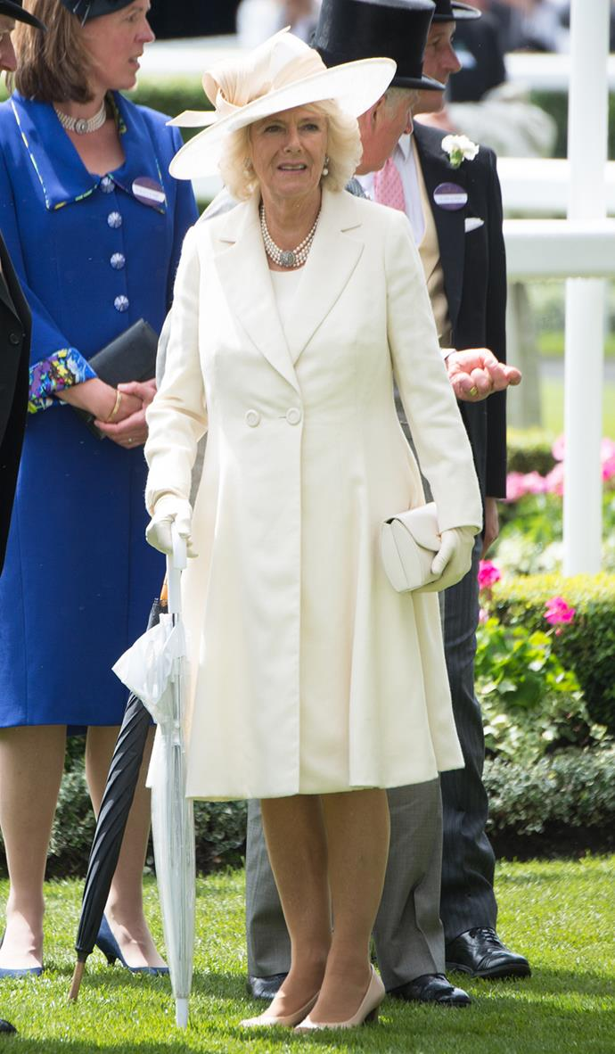 The Duchess of Cornwall also opted for white during day two of the races.