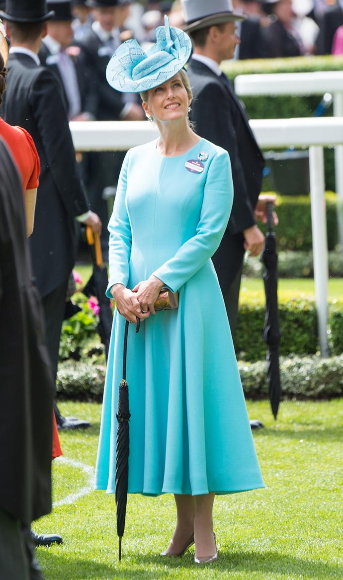 Sophie, Countess of Wessex dazzles in a teal dress and matching fascinator.
