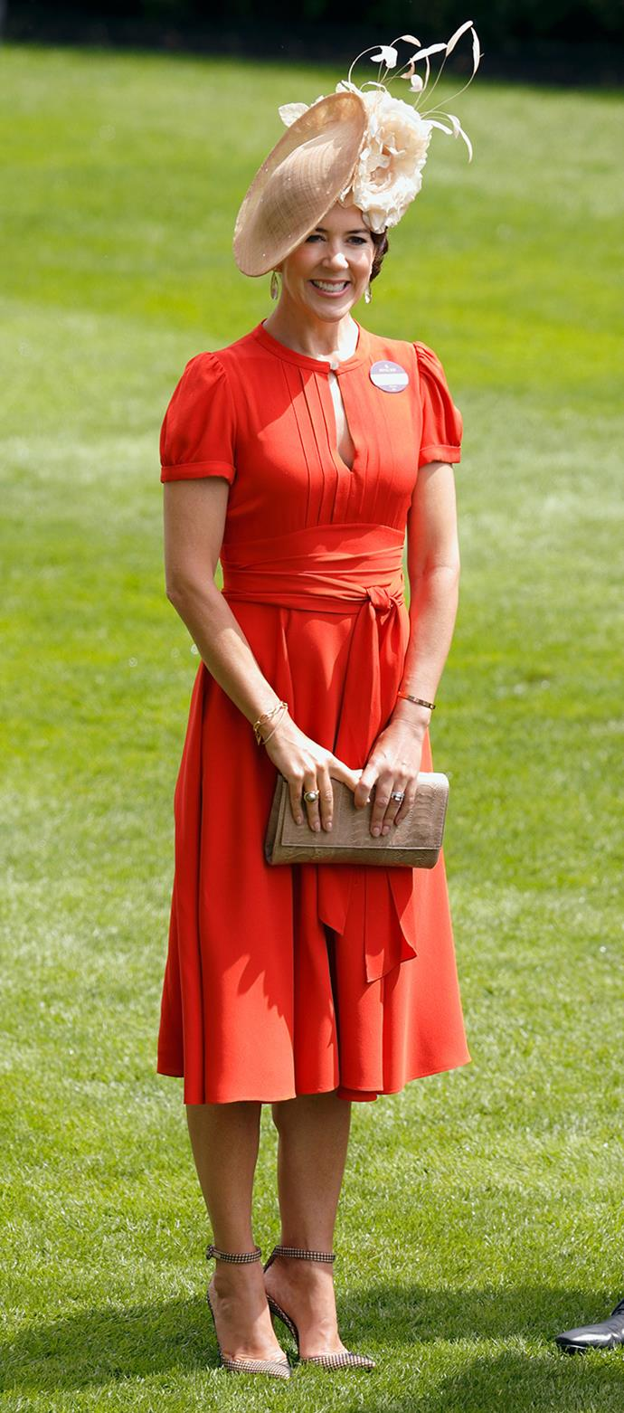 The royal wowed in a midi-length dress from Marc Jacobs during day two of the races.