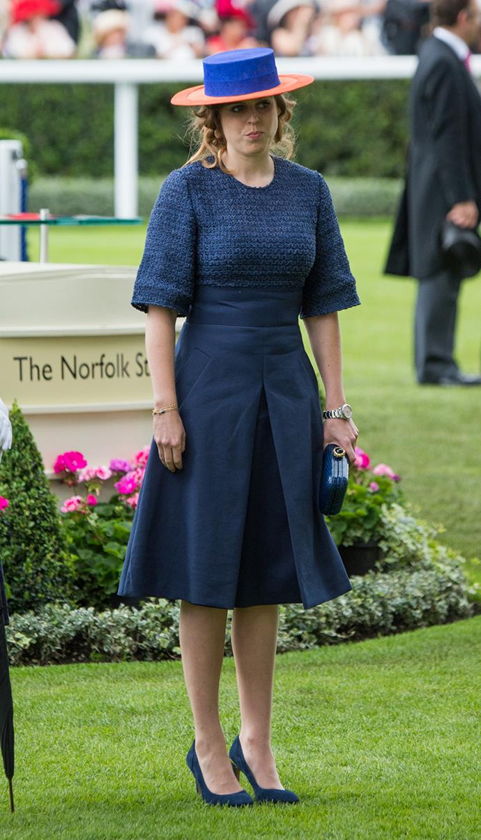 Princess Beatrice also chose a deep blue hue for her Royal Ascot outfit on day three, wowing in this multi-textured dress from Adeam.