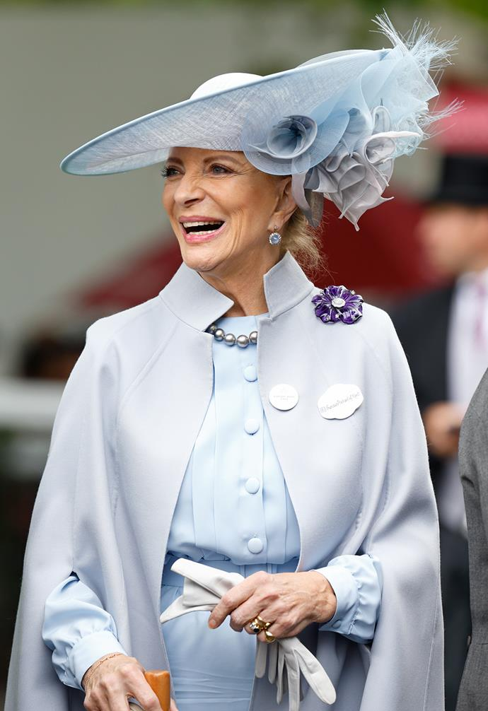 Princess Michael of Kent looked elegant in complementary tones of grey and pale blue.