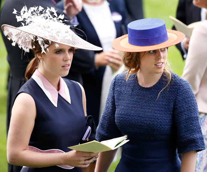 The sisters are pictured together on the racecourse.