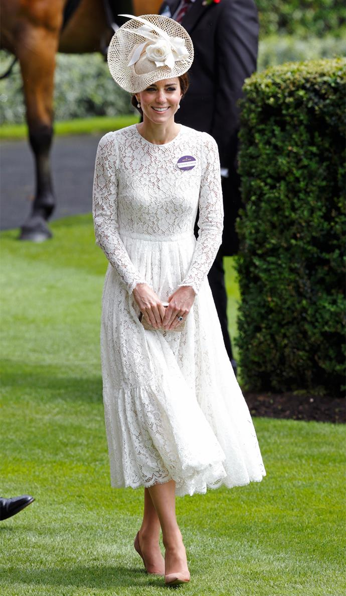Kate wowed in a long-sleeved dress from Dolce & Gabbana.