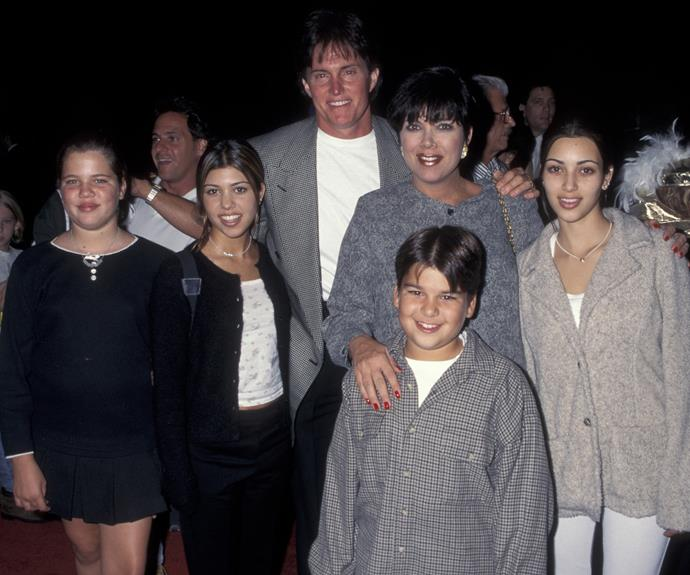 In this throwback family photo, Khloe Kardashian was just 11 years old, seen here with Kourtney, Bruce Jenner (now known as Caitlyn), Kris, Robert and Kim Kardashian in October 1995, one month before Kendall was born.