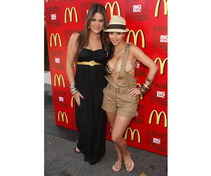 Isn't it funny to see Khloe and Kim Kardashian at McDonald's 40th Birthday Party? In July, 2008 Kim and Khloe attended a 40th birthday bash for McDonald's wearing some questionable outfits - check out Kim's racy playsuit!