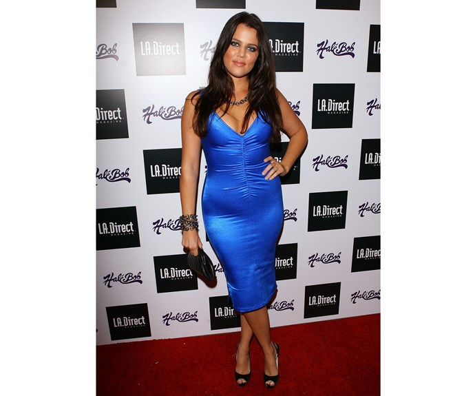 In 2007, Khloe went all out with this electric-blue body con-style dress complete with matching eyeliner.