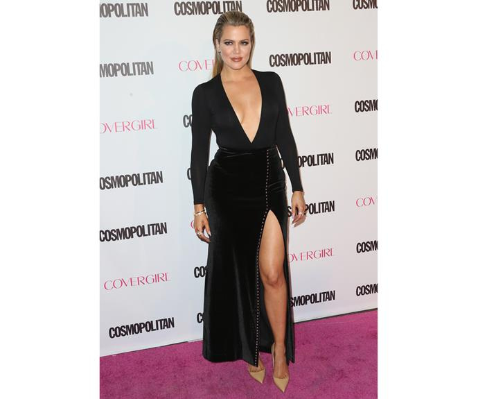 In 2015, at *Cosmopolitan's* 50th Birthday Celebration, she stuck to her old favourites - a sleek black dress and slicked-back hair.