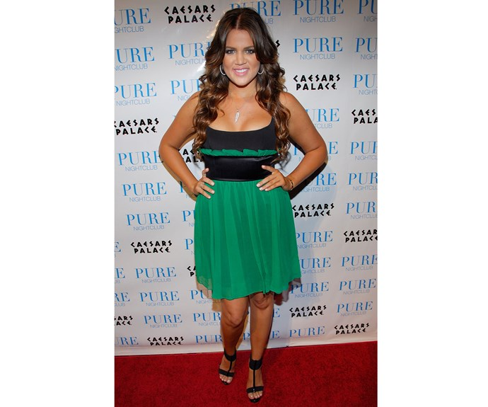 Khloe went green to watch Kim's performance with the Pussycat Dolls in 2008.