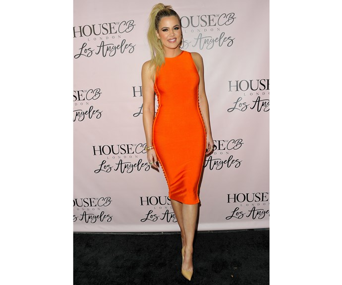 Attending the House of CB Flagship Store Launch party more recently this month in June 2016, Khloe looked happy, healthy and confident in bright orange.