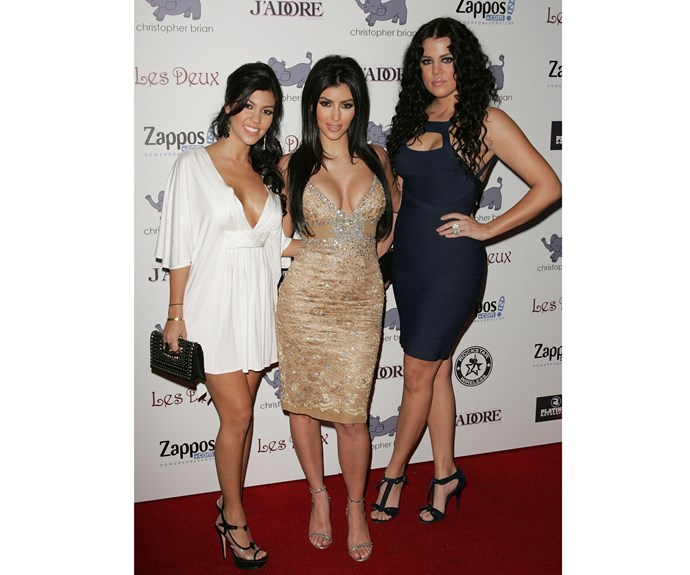 At Kim's birthday party in 2007 - the year *Keeping Up with the Kardashians* first aired - the sisters arrived together, with Khloe rocking darker locks.