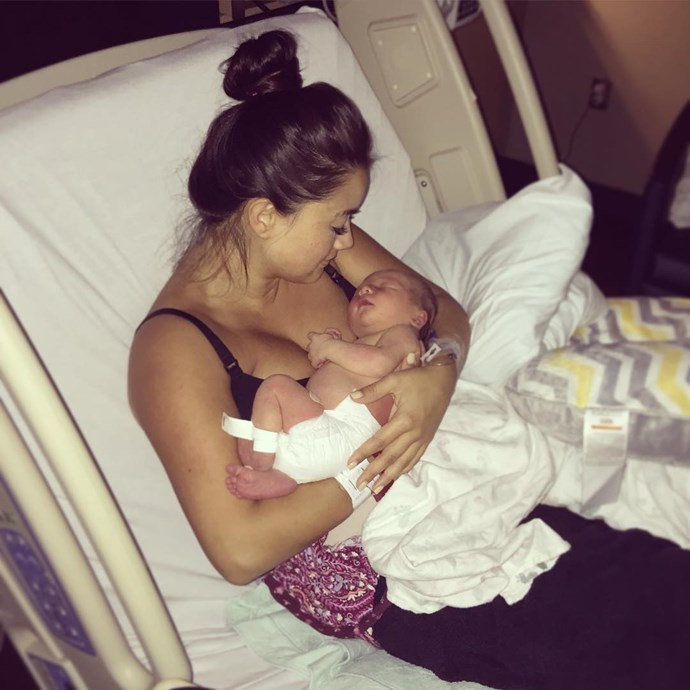 Catherine gazes lovingly down at her newborn son in this sweet shot. Photo: Instagram