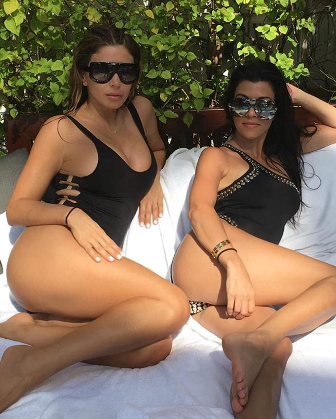 Kourtney Kardashian headed to Miami for the weekend, sharing this sultry snapshot from beside the pool.