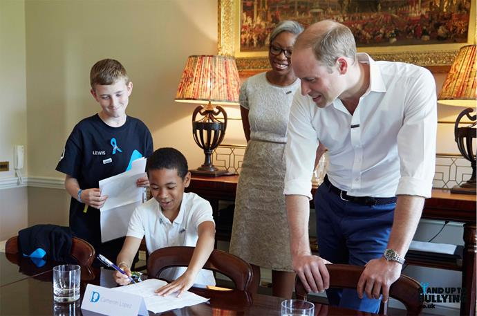 Prince William is a proud supporter of The Diana Award, which is spearheading the anti-bullying campaign. Photo: Kensington Palace