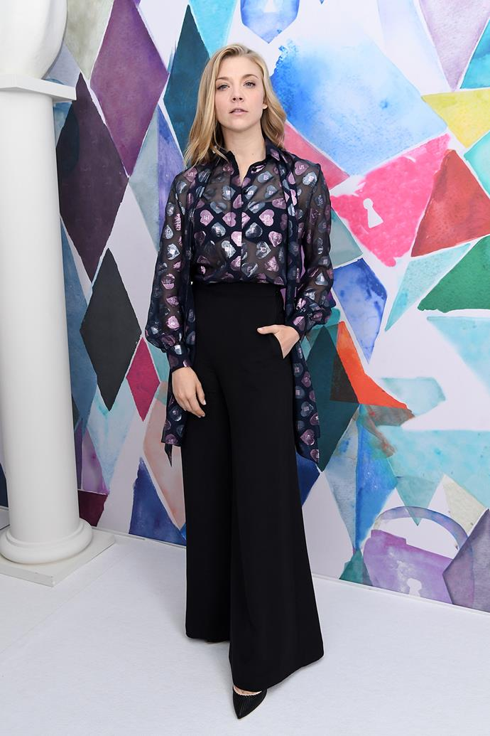 *Game of Thrones* actress Natalie Dormer struck a pose at the Schiaparelli show at Paris Fashion Week.