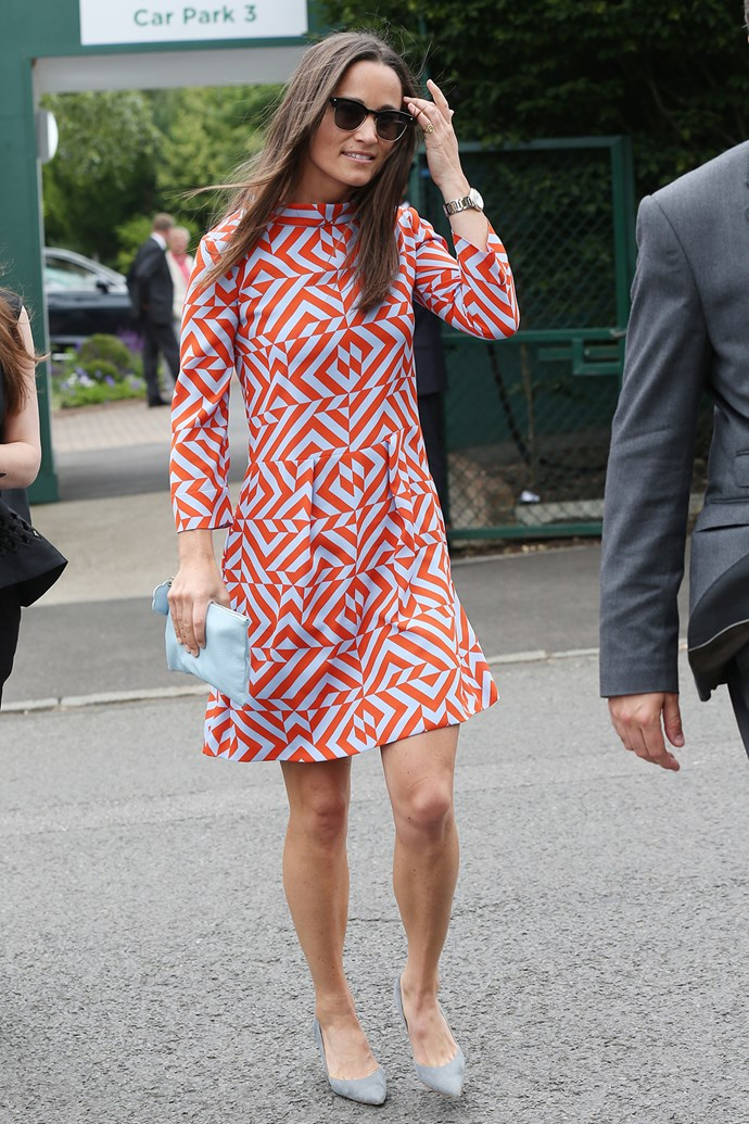 Pippa Middleton rocked a brightly patterned mini dress at Wimbledon.