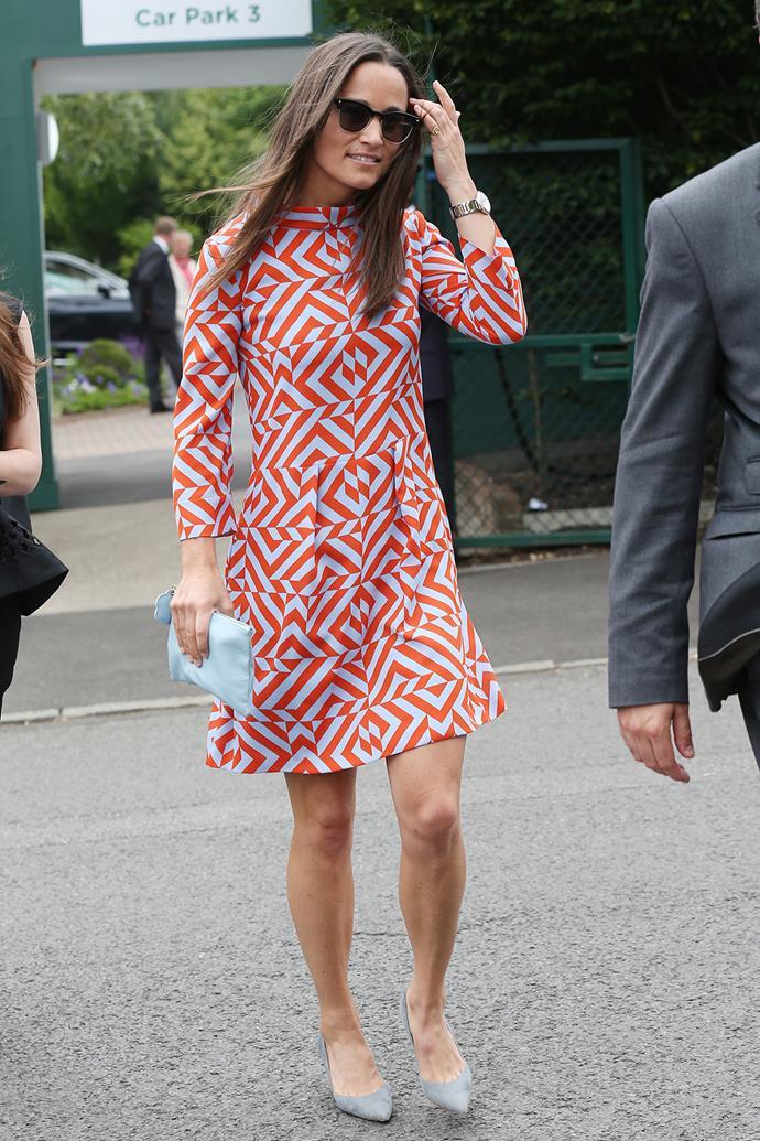 Pippa Middleton rocked a brightly patterned mini dress at Wimbledon.