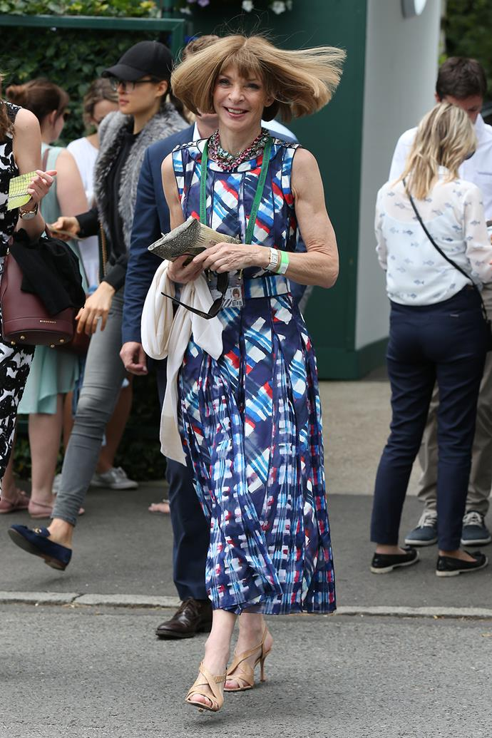 Anna Wintour was also snapped among the crowds at Wimbledon this year.