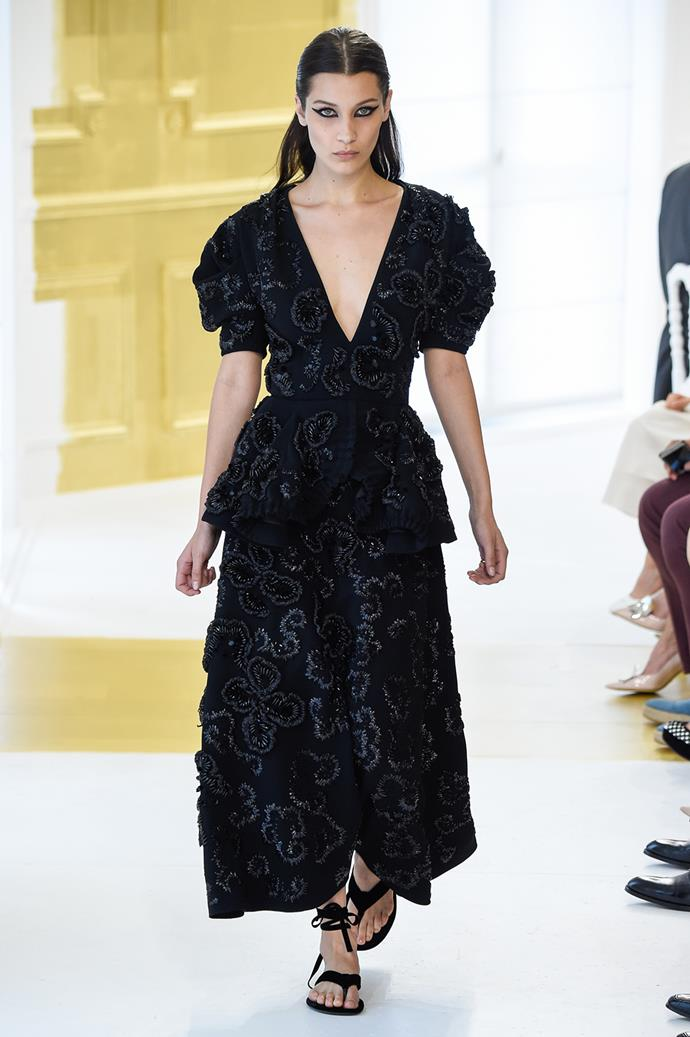Bella Hadid strutted her stuff down the catwalk at Dior show in Paris.
