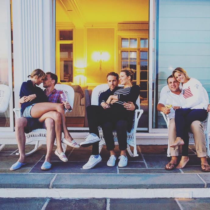 Taylor and Tom can be seen cuddled up next to Ryan Reynolds and Blake Lively, in this snap shared by Taylor's long-time friend Brittany LaManna.