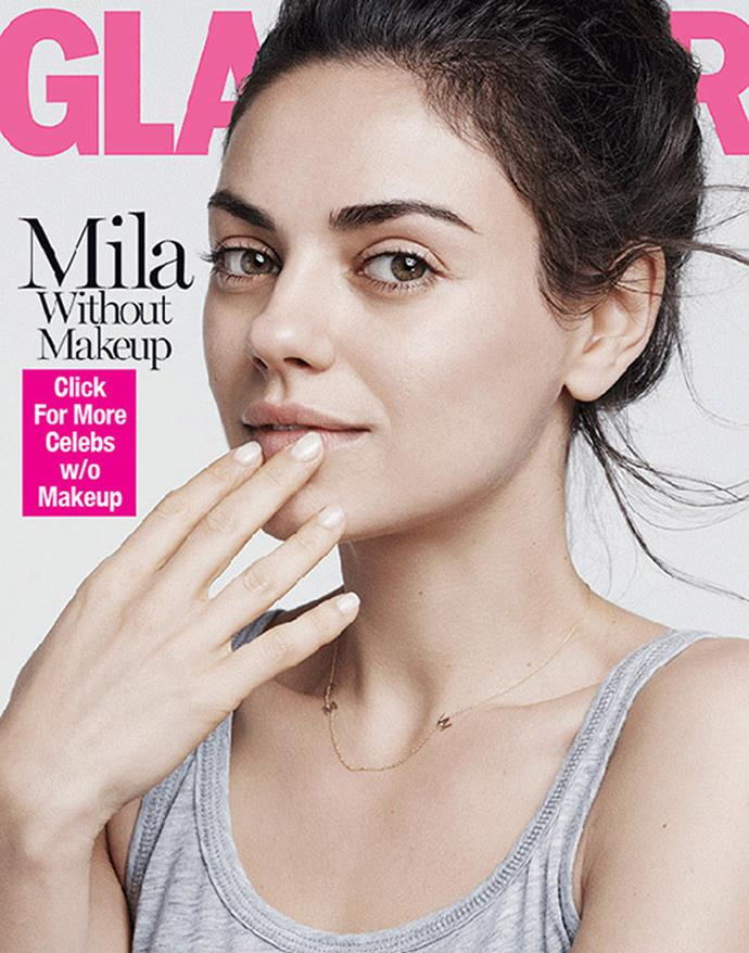Mila goes makeup-free for the back cover of *Glamour's* August issue.