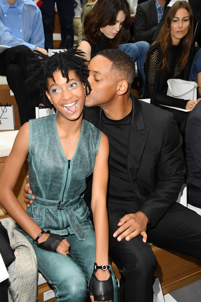 Will Smith and daughter Willow sit front row at the Chanel Haute Couture show during Paris Fashion Week.