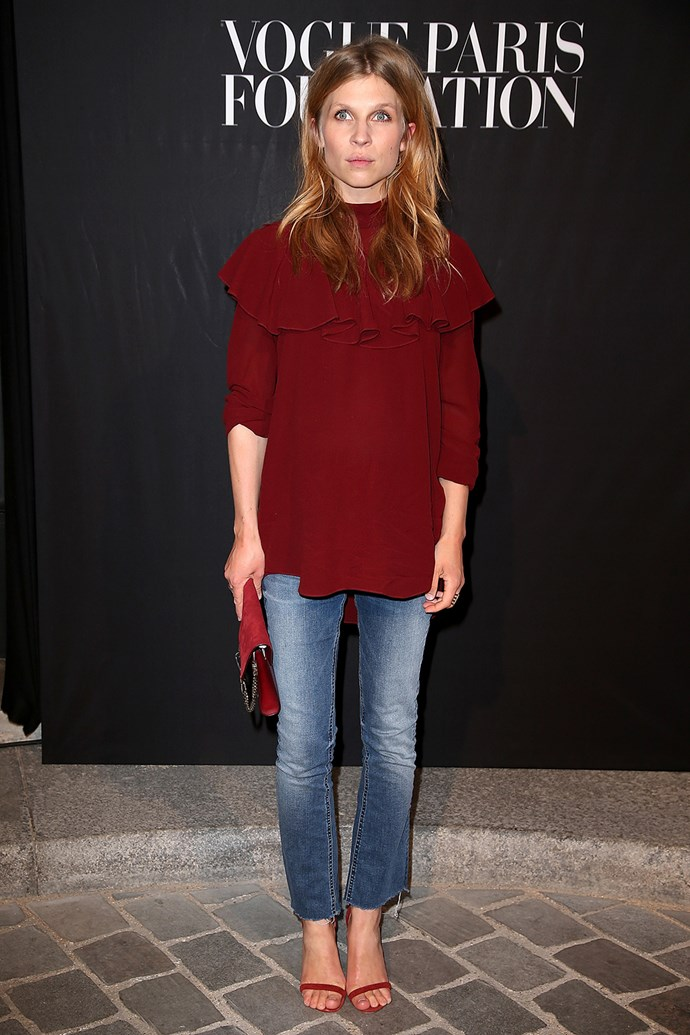 French actress Clemence Poesy attends the Vogue Foundation Gala in Paris.