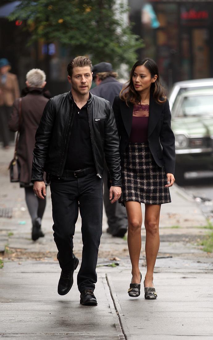Ben McKenzie and Jamie Chung film scenes for TV series *Gotham* in New York.