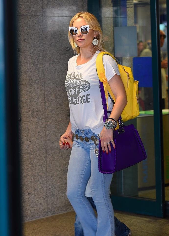 Kate Hudson arrives at the airport in Rome.