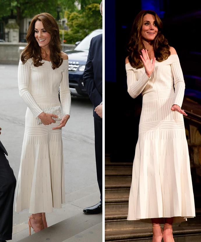 The Duchess of Cambridge wears a white off-the-shoulder gown at the Art Fund Museum of the Year event in London.