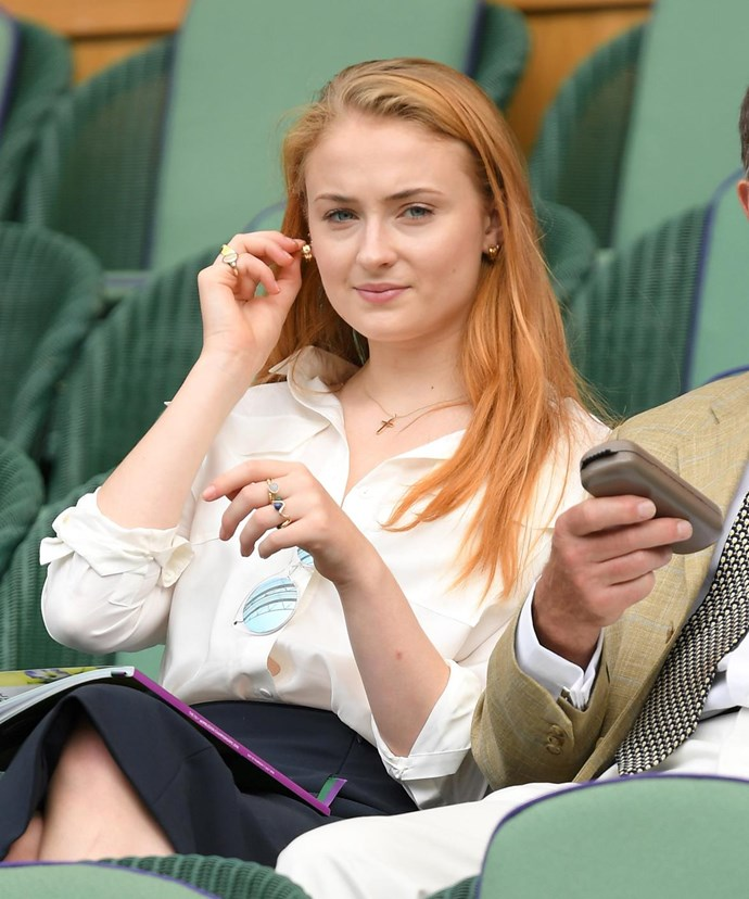 *Game of Thrones* star Sophie Turner was also courtside for the big event.