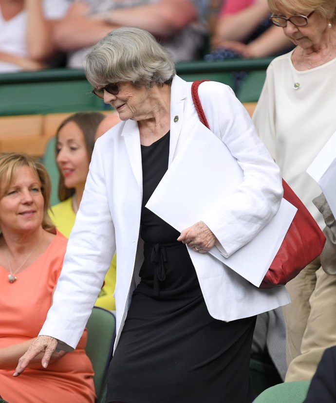 Dame Maggie caught the action at Wimbledon.