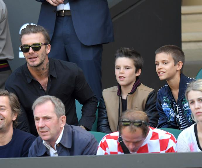 David Beckham took sons Romeo and Cruz along for a boys' day out.