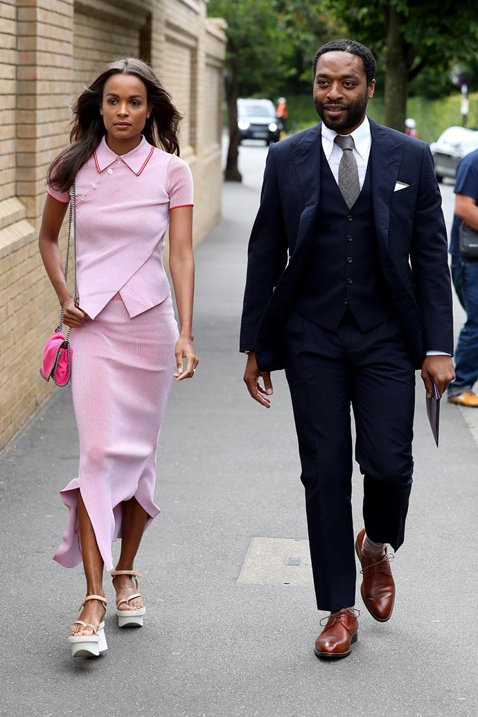 Chiwetel Ejiofor and his girlfriend, model Frances Aaternir, are snapped heading into the venue.