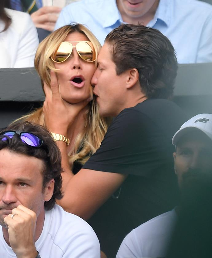 Heidi Klum was surprised by a smacker from her boyfriend, Vito Schnabel during day 11 of the tournament!