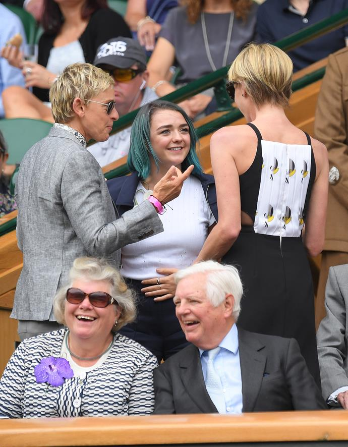 The star also bumped into Ellen DeGeneres and Portia de Rossi in the stands.