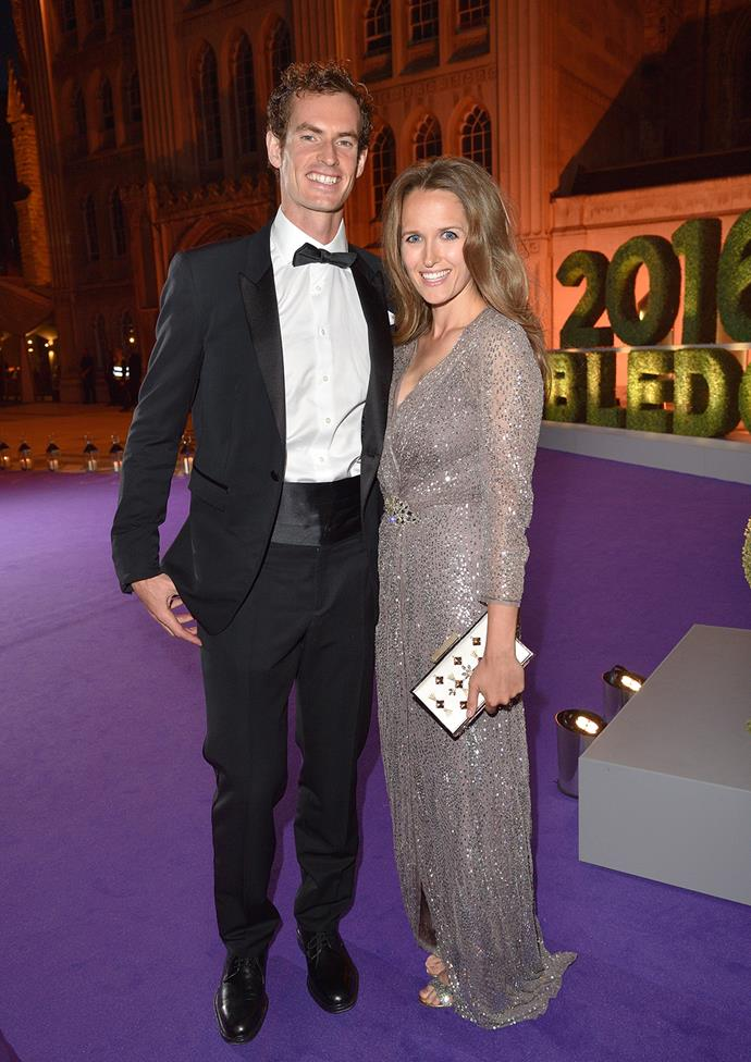 The victorious Andy Murray, with wife Kim wearing Jenny Packham, attend the Champions Dinner after the tournament.  **The athlete also caught up with the Duke and Duchess of Cambridge after his big win - watch in the next video**